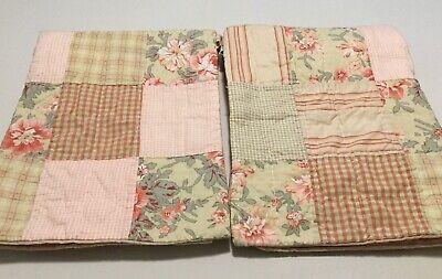 2 Nautica Pink Sands Patchwork Standard Pillow Shams Floral Stripe Check Cotton