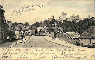 ARUNDEL Man on bridge & castle 1904 used Postcard AK nach Ehrenbreitstein gelauf