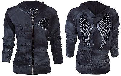 SINFUL by AFFLICTION Women Hoodie Sweatshirt ZIP UP Jacket GUARDIAN LION Blk $74