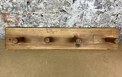 Large Solid Wood 4 Peg Hanger Hook - French Farmhouse Reclaim Industrial