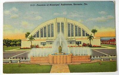 Municpal Auditorium, Sarasota, Fla 1948  Postcard / stamp F683