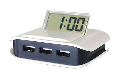 Clear LCD Digital Travel Alarm Clock with Integrated USB 1.1 Hub and Cable