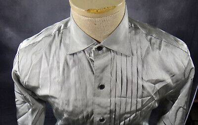 SILVER metallic tuxedo shirt medium gray 15 15.5 steampunk shiny vintage