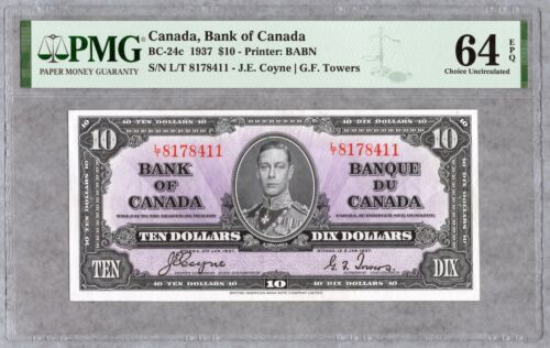1937 Bank of Canada $10 Banknote, PMG UNC-64 EPQ