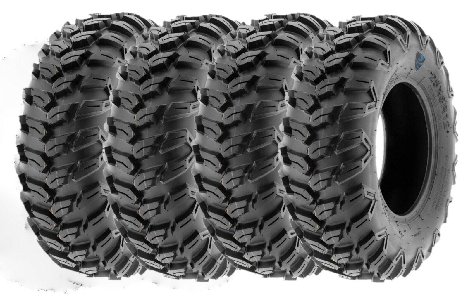 New - Set of Four (4) RP Talon 25x8x12 Run Flat 12-Ply ATV/UTV Tires - 25x8-12