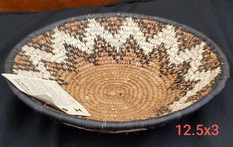 Authentic Handwoven African Zulu  Bowl / Basket  12.5 x 3