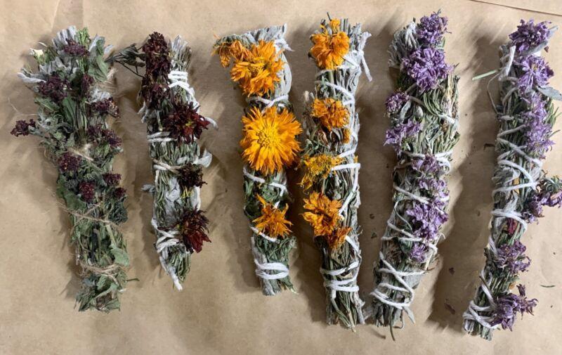 *Dia De Los Muertos Sage Sticks with Rosemary & Marigold (2) Day Of The Dead