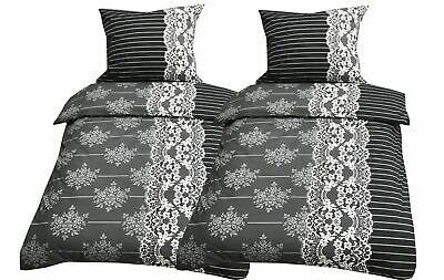 Baumwolle Bettwäsche 135x200 cm anthrazit weiß Streifen 4 tlg mit Reißverschluss - Weiße Bettwäsche