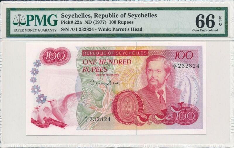 Republic of Seychelles Seychelles  100 Rupees ND(1977) Prefix A/1 PMG  66EPQ