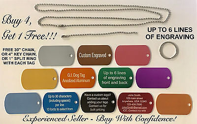DOG TAG CUSTOM ENGRAVED LUGGAGE NECKLACE GIFT SCHOOL PENDANT MILITARY GI TAG - Custom Dog Tag Necklace