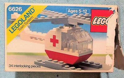 LEGO Set #6626 Rescue Helicopter (1980) - Vintage Legoland Town System, Used