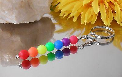 Talismann Schlüsselanhänger Taschenbaumler Charms Regenbogen Neon Perlen