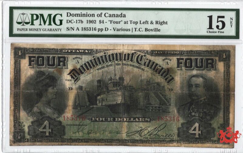 1902 Dominion Of Canada 4$ 185316 FOUR At Top - PMG F15 - PVC & Stained