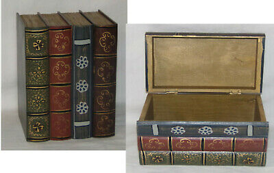Hideaway Book Box Book Safe Wooden Book Safe Storage Shelf Decor Hinged Box NOS