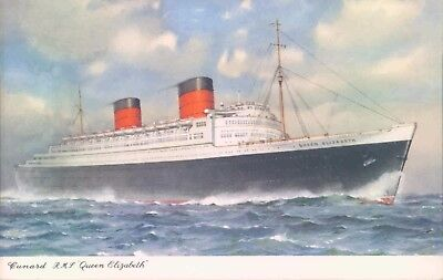 Postcard Shipping Ocean liner RMS Queen Elizabeth   unposted