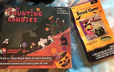 Halloween Maths Games (Counting Candies Math Board Monsters Halloween & Pin Wand on Witch 2)