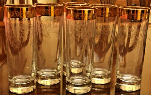 Vintage Set Of 6 Etched Glass With Gold Rim Tall Highboy Collins Glasses