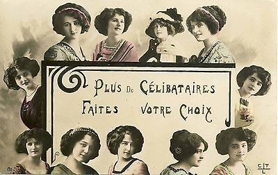 1910 PRETTY LADIES REAL PHOTO POSTCARD HAND COLORED FASHION HATS WOMEN #57