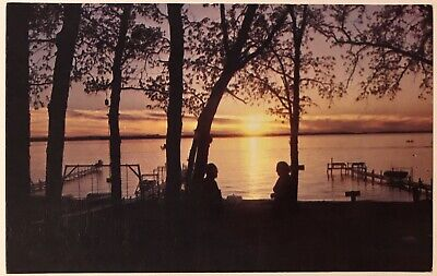 Sunset Big Spirit Lake Iowa IA Postcard Boat Dock