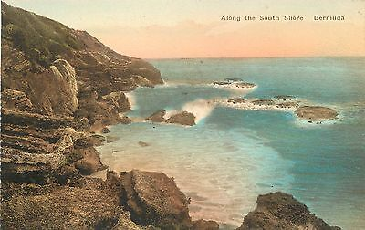 Vintage 1930s Hand Colored Postcard Along the South shore Bermuda