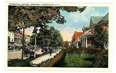 Monticello Ny  Residential Section Of Broadway  Postcard Sullivan County