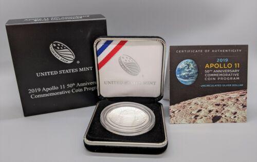 US Mint 2019 Apollo 50th Anniversary Commem. Silver Dollar $1 Curved Coin COA