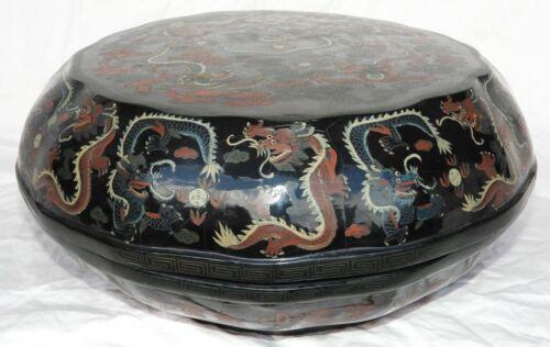 "Antique Large Chinese Black Lacquer Box w/ Dragon Artwork 18"" Diameter"