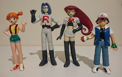 VINTAGE 1998 TOMY POKEMON FIGURES X 4 - ASH, JESSE, JAMES, MISTY