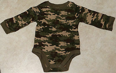 Boys Infant Green Thermal Camouflage Onecie/Bodysuit Baby Boys Thermal Bodysuit