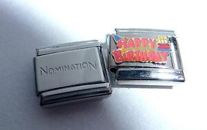 HAPPY BIRTHDAY 9mm Italian Charm + 1x Genuine Nomination Classic Link Cake Hat