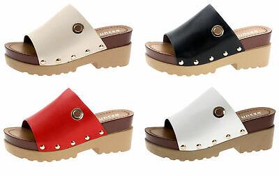 Damen Schuhe Pantoletten Sandaletten Sabot Sommerschuhe Plateau D1711