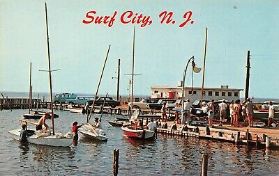 Taking Boats Out The Water After Race Yacht Club Surf City,NJ Vtg 60's Postcard