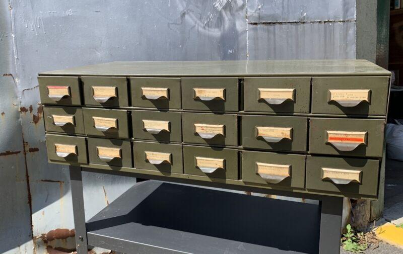 Vintage Lyon Industrial Metal Parts Bin Organizer Tool box Cabinet 18 Drawers