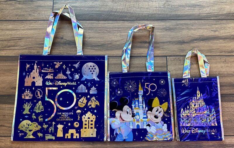 Walt Disney World 50th Anniversary Celebration Reusable Tote Bag Set S M L NEW