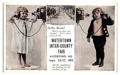 Girls on the Telephone, Watertown Inter-County Fair, Watertown, WI Postcard *6D4