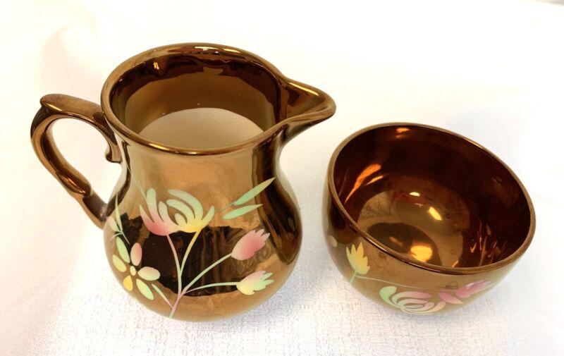 Vintage - WADE    Floral Copper Lustre     Small CREAMER / PITCHER & SUGAR BOWL