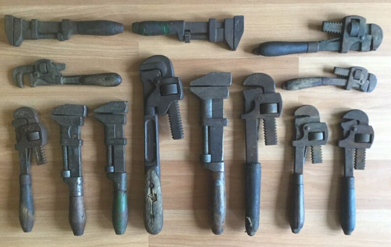 OLD VTG WOOD HANDLE PIPE MONKEY WRENCH WJ LADD PS & W WALWORTH TOOL LOT OF 13