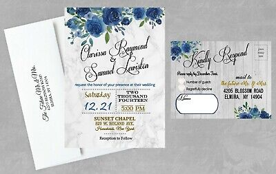 Wedding Invitations Personalized Navy Blue Gold Rustic Set of 50 with RSVP Cards