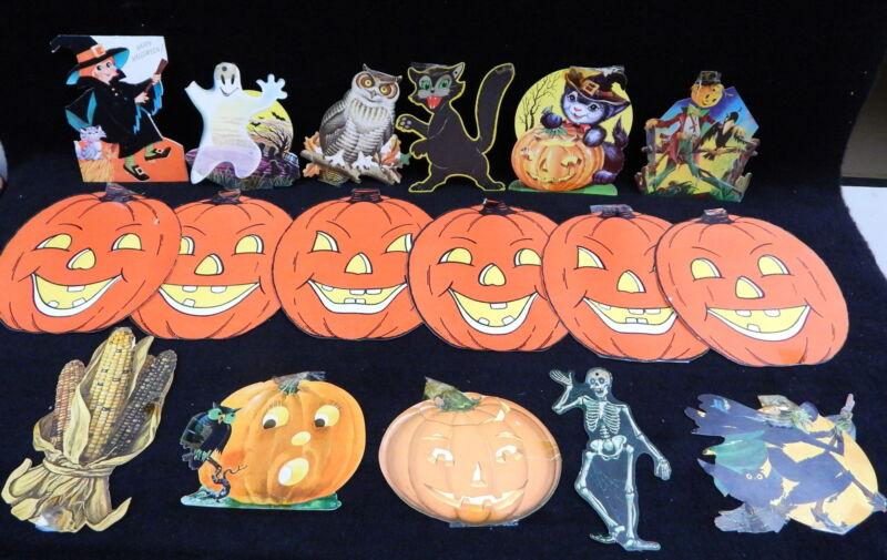 17 Vintage Halloween Decorations Diecut Paper Dennison Eureka U.S.A Scarecrow