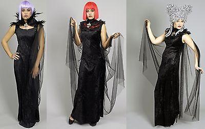 Umhang schwarz Cape mit Federn Spitze Damen Halloween Damenkostüm
