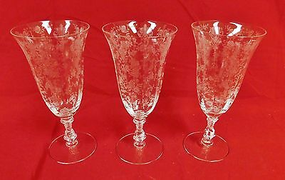 "Cambridge Crystal ROSE POINT 7 3/4"" ICE TEA STEMS - Set of 3"