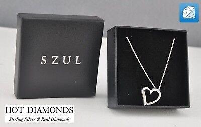 brand new three stone diamond heart pendant