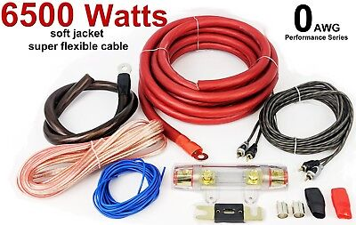 RED AND BLACK BEST 0 GAUGE AMP AMPLIFIER WIRING KIT 6500 WATTS HIGH POWER