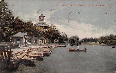 CHICAGO ILLINOIS~BOAT LANDING HUMBOLDT PARK~WOOD BOATS POSTCARD 1910