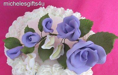 Gum Paste Sugar Purple Lavender Rose Rosebuds Flowers Cake Decorating Bouquet  (Purple Gum)