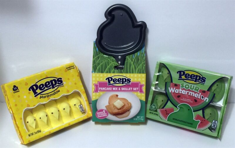 PEEPS Pancake & Skillet Set with Sour Watermelon & Yellow Marshmallow Chicks