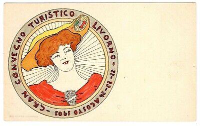 POSTCARD ITALIAN TOURING CLUB 1903 MEET LIVORNO CYCLING THEME (SB)