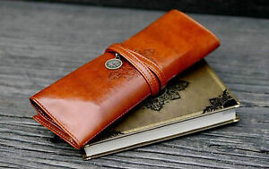 Vintage-Leather-Cosmetic-Make-up-Brush-Wrap-Holder-Bag-Pencil-Case-Calligraphy