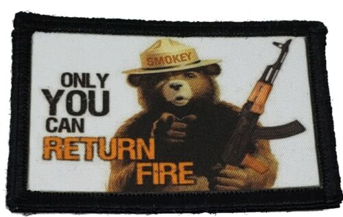 Smokey the Bear AK47 Morale Patch Tactical Military Army Hook Flag USA