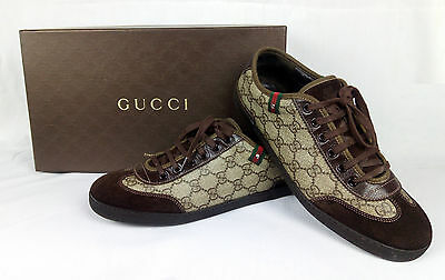 100% Authentic GUCCI GG Plus Suede Lace-up Sneakers Shoes Beige/Brown 7.5 / 40.5